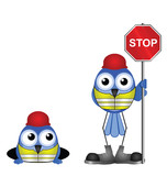 Comical construction workers with stop sign