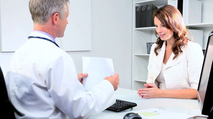 Meeting of Pharmaceutical Saleswoman and Doctor