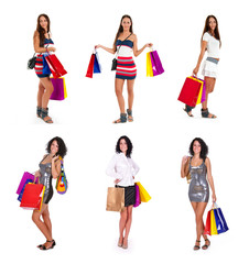collection  shopping women in different position.