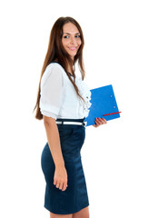 young business woman standing with her clipboard