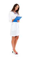 medical doctor woman with clipboard and stethoscope