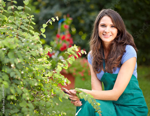 Young female gardener cutting a bush