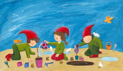 Cute children - dwarfs playing in the sand