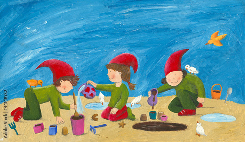 Cute children - dwarfs playing in the sand