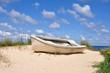 Fototapeten,sanddünen,fischerboot,fischerboot,küste