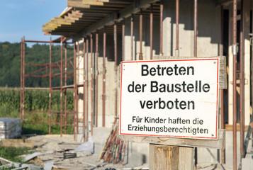 Baustelle betreten verboten