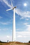 Wind turbines on hight sky. poster