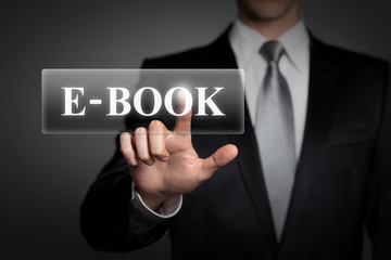 businessman pressing virtual button - E-book