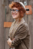 Smiling hipster girl poster