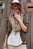 Interested hipster girl poster