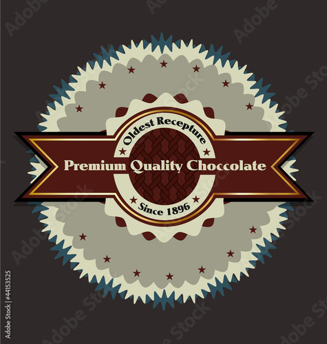 Premium choccolate product vector label