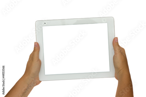 hands  holding  modern tablet PC