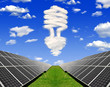Bulb from clouds above the solar energy panels