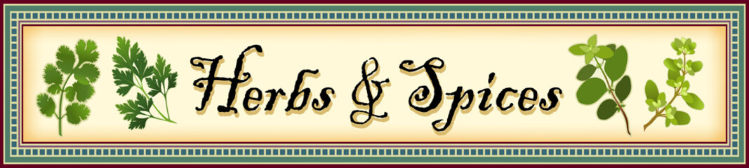 Herbs and Spices Banner, Cilantro, Parsley, Oregano, Marjoram