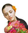 portrait of beautiful spa woman with flowers