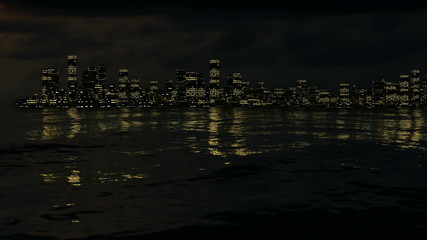 Approaching night city over the water with alpha in 1080p