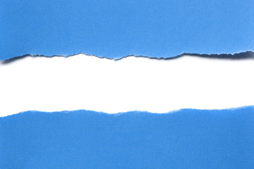 Torn Blue Paper with Horizontal White Strip Beneath