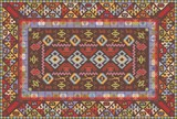 Oriental nomadic type carpet design