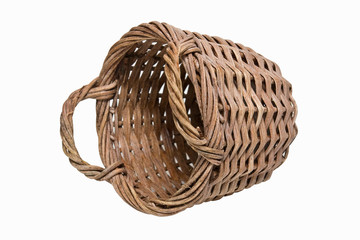 Old empty wooden basket on a white background