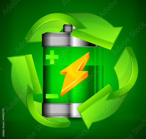 Battery recycling concept on green