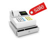 3d illustration: Sale and purchase. Cash register and sticker sa