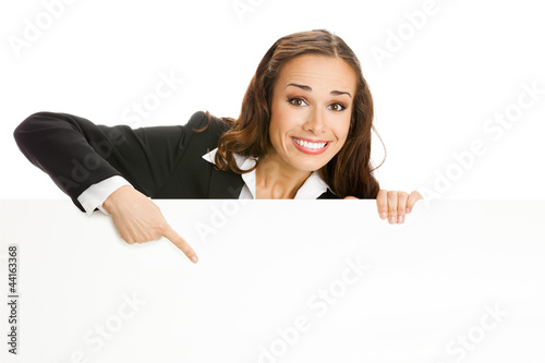 Businesswoman showing signboard, isolated