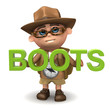 "3d Explorer with the word ""Boots"""