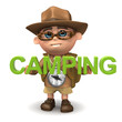 "3d Explorer with the word ""Camping"""