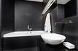 Modern minimalism style bathroom interior in black