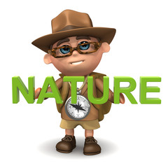 "3d Explorer with the word ""Nature"""