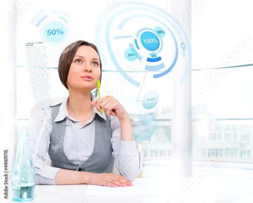 Businesswoman working with high tech type of modern interface at