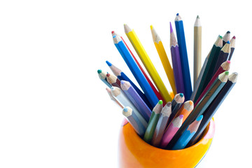 color crayons on the white background