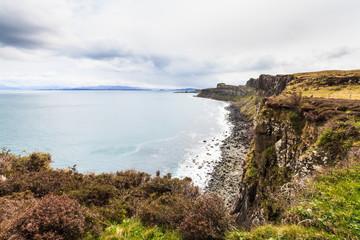 Steep rocky coastline on the Island Skye