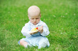 cute baby outdoors playing