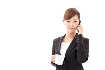 a young businesswoman talking by cellphone
