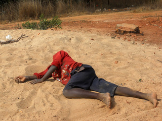 One child passed out to the edge of the forest - Tanzania - Afri