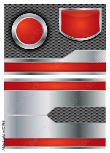 Metallic vector brochure with red elements