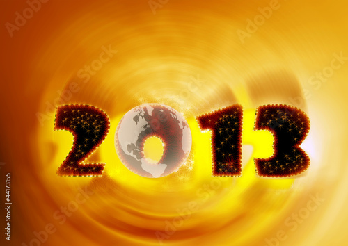 2013, again in yellow swirl and planet earth