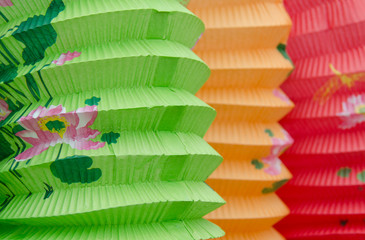 Closeup of three colorful paper Chinese lanterns