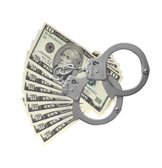 many dollars and handcuffs isolated on white