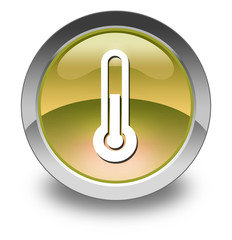 "Yellow Glossy Pictogram ""Thermometer / Temperature"""