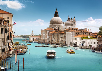 Grand Canal i Bazyliki Santa Maria della Salute, Wenecja, Włochy