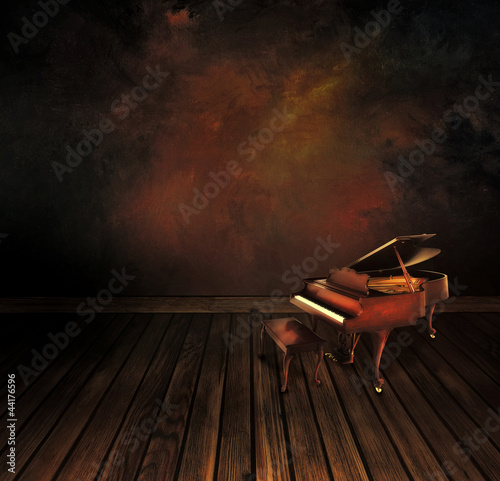 Vintage piano on Art abstract background