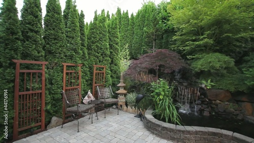Waterfall Pond in Stone Paver Patio