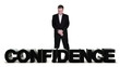 Businessman standing over confidence word