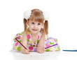 smiling girl drawing a picture with color pencils