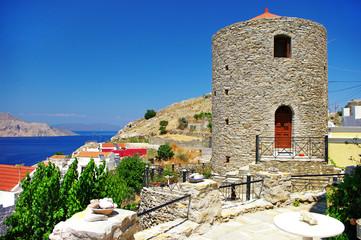 scenic Greece -Symi island, view ith windmill