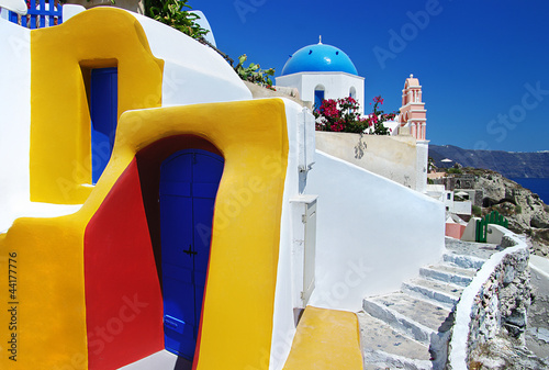 colorful Santorini - traditional cycladic architecture