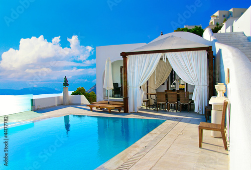 Leinwanddruck Bild Santorini - luxury summer  holidays