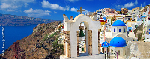 beautiful Santorini panoramic view of Oia town